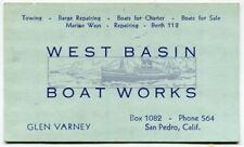 """Old Business Card: """"West Basin Boat Works"""" [San Pedro, Calif]"""
