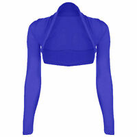 NEW LADIES CROPPED BOLERO SHRUGS WOMENS TOP LONG SLEEVE UK SIZE 6-26 bole