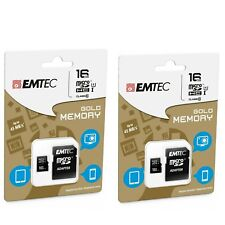 Two (2) EMTEC Gold Memory 16GB Micro SD Cards with Adapters (32GB total) *NEW*
