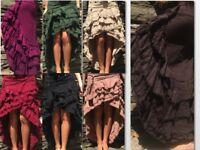 Asymmetric ruffle rag skirt steampunk hippy boho psy ethnic earthy skirt