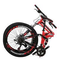 """26"""" Full Suspension Mountain Bike 21 Speed Folding Bicycle Men or women MTB"""