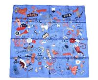 Hermes Scarf Les Confessions Silk 90 cm Blue with Box Carre Shawl Stole NEW