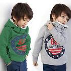 Kids Boys Fleece Hooded Hoodies Sweatshirt Shirt Tops Pullover Jumper Coat 2-7Y