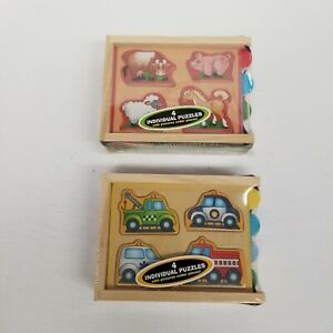 Melissa & Doug Mini Puzzle Pack Lot of 2, Animals & Vehicles, Ages 2+, New