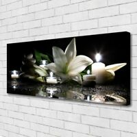 Canvas print Wall art on 125x50 Image Picture Stones Flower Candles Art