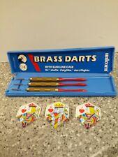 Vintage Unicorn Brass Darts with Slim-Line Case Made in England  Dart Game