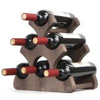 Tabletop Wood Wine Holder for 6 Bottles, Rustic Wood Countertop Wine Rack