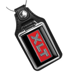 1978 Ford Pick Up Truck Red XLT Emblem Design Faux Leather Key Ring