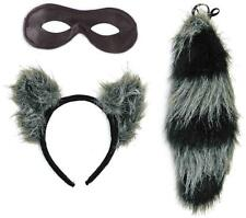 Raccoon Kit Ears Tail Animal Fancy Dress Up Halloween Adult Costume Accessory