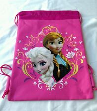 Hot Pink Disney Frozen Anna Elsa Drawstring Backpack Girl's Child School Gym Bag