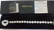 HEIDI DAUS Hearts of Gold- White Beaded Crystal Toggle Bracelet NEW with TAGS