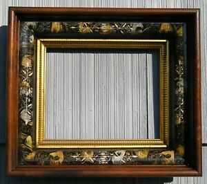 Amazing Deep Feather Applied Carved Tortoise Victorian Gilt Picture Frame 8 x 10