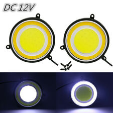 "2x 3-1/2"" Inch 90mm Round COB Car LED Daylight Waterproof DRL White Turn Signal"