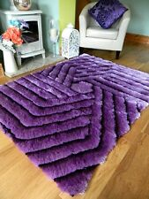 Small - X Large Thick Silk Hand Carved Luxurious Bright Shaggy Soft Area Rug 90x150cm (3x5') Purple