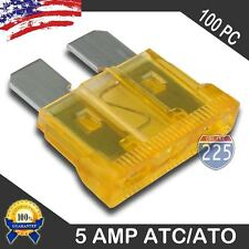 100 Pack 5 AMP ATC/ATO STANDARD Regular FUSE BLADE 5A CAR TRUCK BOAT MARINE PCS