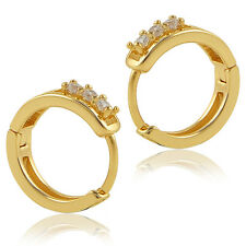 Luxury Gold Crystal Rhinestone Hollow Band Round Hoop Earring Party Jewelry