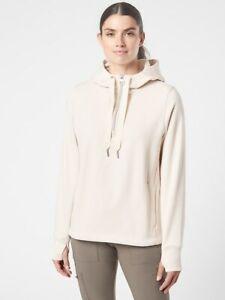 ATHLETA Cozy Karma 1/4 Zip Hoodie Sweatshirt S Small   Cream #632053 NWOT