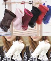 1Pair Cute Women Rabbit Fur Comfortable Suede Warmer Fingerless Winter Gloves