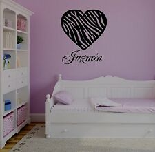 Personalized Name & Zebra Pattern Heart Vinyl Wall Decal Stickers Decor