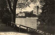 Thun Schweiz Postkarte ~1910/20 Partie an der Aare Uferweg Häuser ungelaufen
