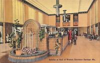 Excelsior Springs Missouri~Art Deco Interior Of Hall Of Waters~1940s PC
