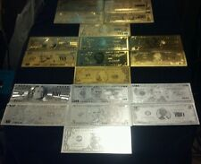 ~23Pc.COLLECTION~COINS / GOLD & SILVER Rep.*Banknotes$1-$100K+2-FLAKE! FREE S&Hz