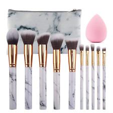 10pcs Professional Makeup Brush Set Eyebrow Lip Crystal Handle Brushes Tools+BAG