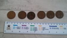 6 assorted old pre decimal pennies coins british