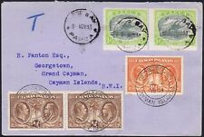 Cayman Islands 1933 from Papua franked 1/2d x 2 and Cayman 1 1/2d and 1/4d x 2