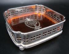 Square Regency Style Silver Plated & Faux Tortoise Shell Drink / Bottle Coaster