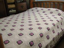 Vintage Crochet White Purple 3D Floral Rosette King Queen Full Bedspread 86x84