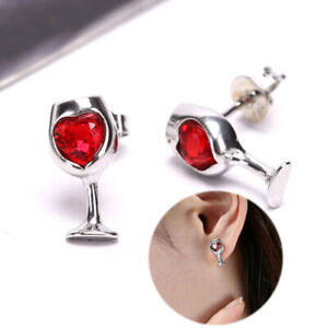 Fashion Red Color Heart Crystal Stone Wine Glass Stud Earrings Jewelry G HB