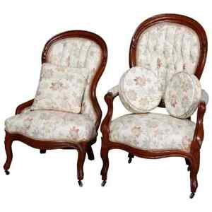 Antique Victorian Carved Walnut Upholstered Parlor Chair Set, circa 1890