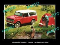 OLD LARGE HISTORIC PHOTO OF INTERNATIONAL SCOUT 800a 1969 LAUNCH PRESS PHOTO