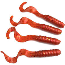 "NEW 50/pack CHILI RED 3"" Scented Grubs Fishing Curly Twister Tail Soft Plastic"