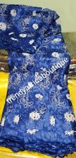 African embriodery royal blue French lace fabric with beads and stones. 5 yards
