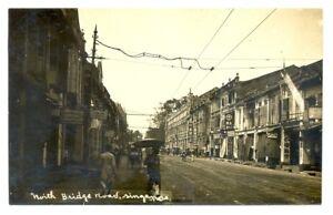 SINGAPORE 1915 -FOTO PPC = NORTH BRIDGE ROAD = EXTRA FINE -- RARE!!