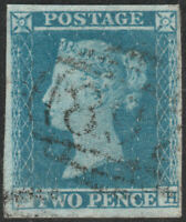 1841 SG14 2d BLUE PLATE 4 FINE USED 4 MARGINS LIGHT CANCEL (EH)