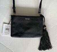 Calvin Klein NEW Black Leather Crossbody Bag Handbag Purse Retail $168