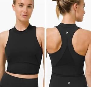 NEW LULULEMON Black Everlux and Mesh Cropped Tank Top Crop Training Shirt XS 2