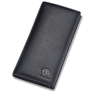 Benz Bifold Long Men Wallet Genuine Leather with 11 Credit Card Slots ID Window