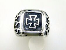 Square Iron Cross with Flames Ring Stainless Steel