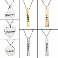 DIY Personalized Heart Round Stainless Steel Engraving Necklace Custom Gift