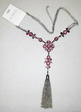 New Cleo Necklace - Silvertone with Long Chain tassel Tag $36.90