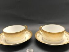 2 Sets Antique Guerin Limoges Coffee Cups Can & Saucer Gold Gilt Swags Encrusted