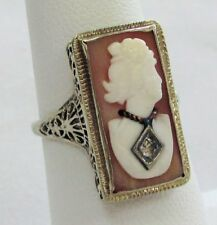 ANTIQUE VICTORIAN ERA 14K GOLD SHELL CAMEO WITH DIAMOND FILIGREE RING SIZE 6 1/2
