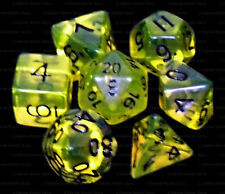 7 Piece Polyhedral Dice Set - Boiled Bile Translucent Yellow Green- Cream Bag