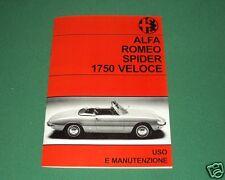 Uso e manutenzione Alfa Romeo 1750 Spider I serie osso di seppia Owner's manual