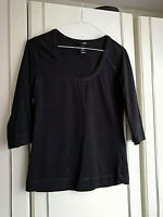 H&M WOMENS BLACK 3/4 SLEEVE BLOUSE TOP SIZE 10 MEDIUM CREW NECK LENGTH 23 INCH