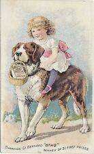 ca.1880s Pearline Washing Compound Ad Card. Girl Riding St. Bernard Illustration